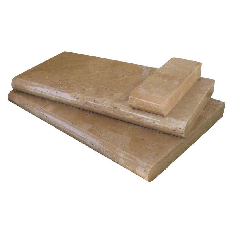 Tuscany Chocolade 12X24X1.2 Tumbled One Long Side Bullnose Pool Coping
