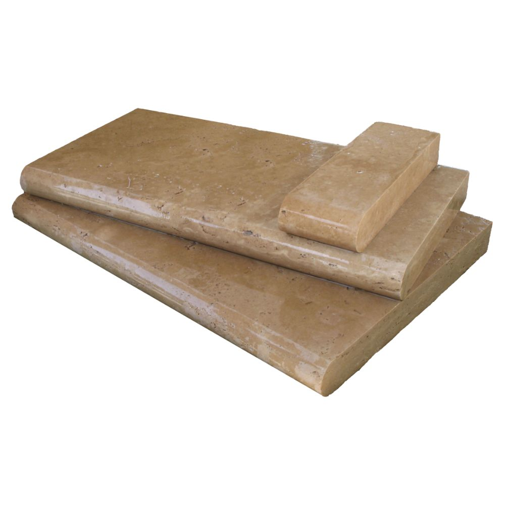 Tuscany Chocolade 16X24 Honed Unfilled Brushed One Long Side BullNose Pool Coping