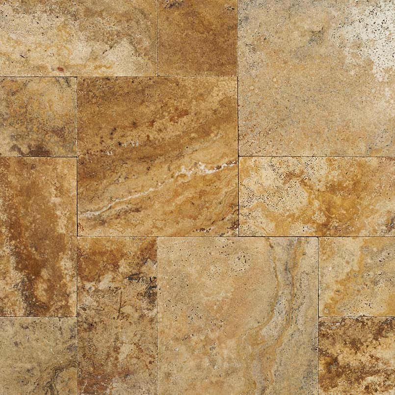 Tuscany Porcini French Pattern 16 Sft x 10 Kits Honed Unfilled Tumbled Paver