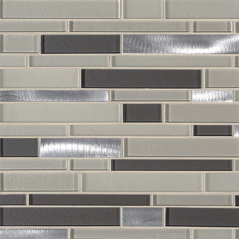 Urbanka Interlocking Pattern Glass Metal Mosaic