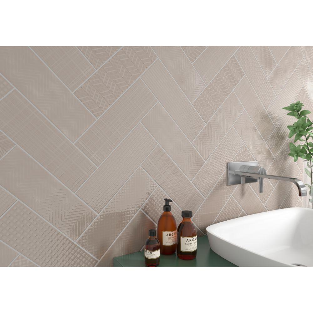 Urbano Warm Concrete 3D Mix 4X12 Glossy Ceramic Subway Tile