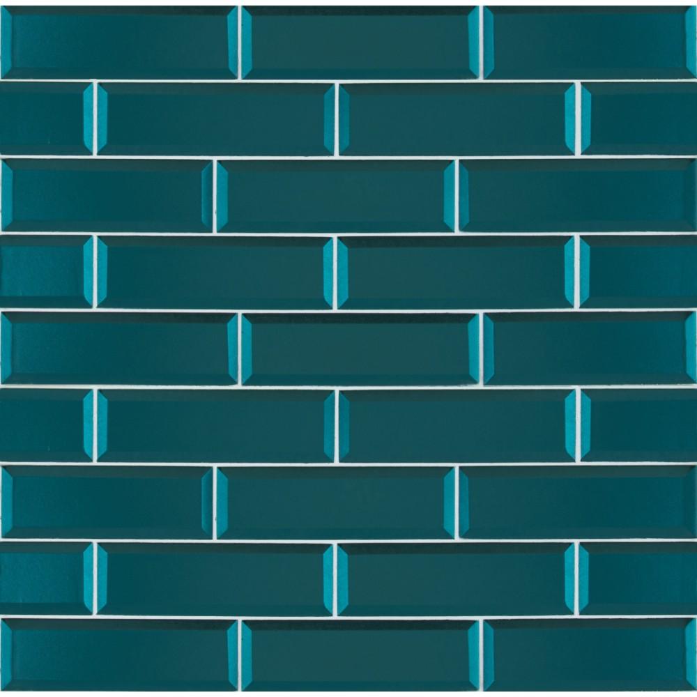 Verde Azul 2 5x8 Beveled Glass Subway Tile Tilesbay Com