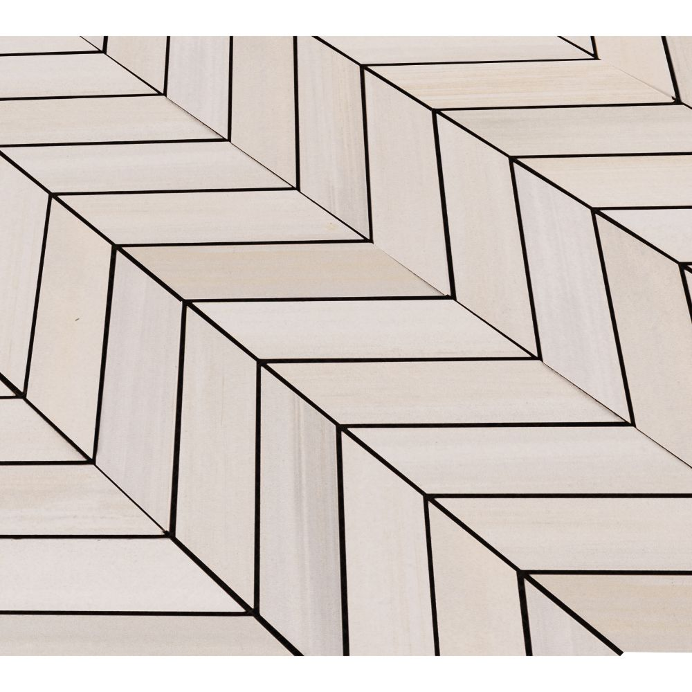 Watercolor Bianco 12x15 Chevron Mosaic