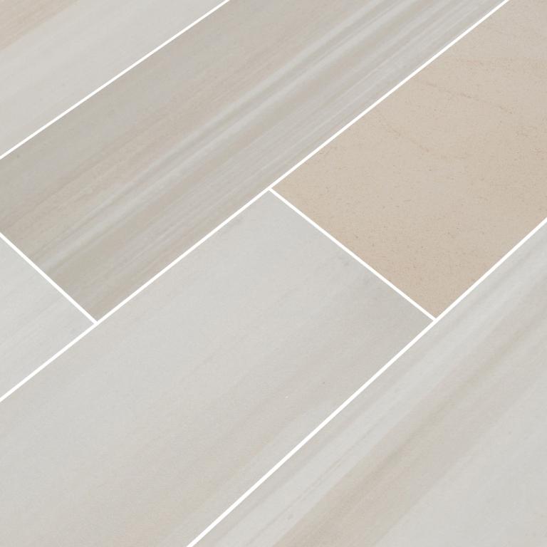 Bianco Porcelain Tile: Watercolor Bianco 6x36 Matte Porcelain Tile