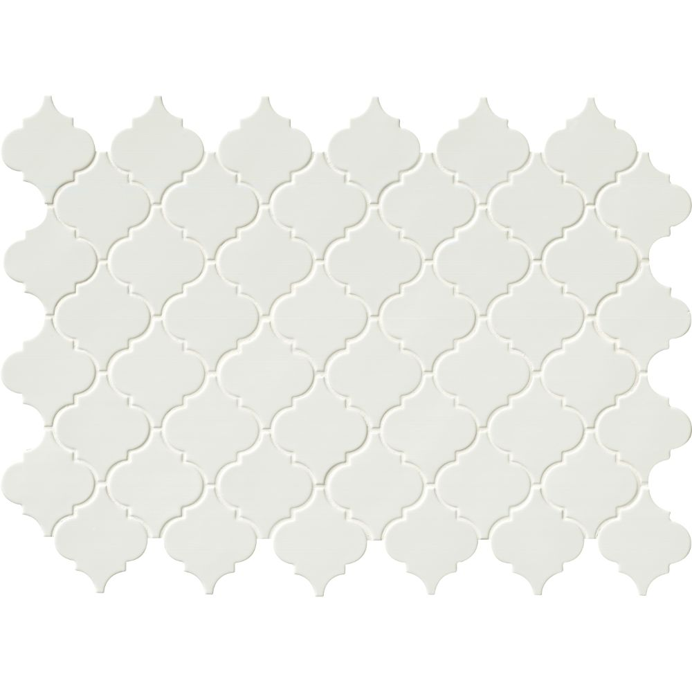Whisper White Glossy Arabesque Mosaic