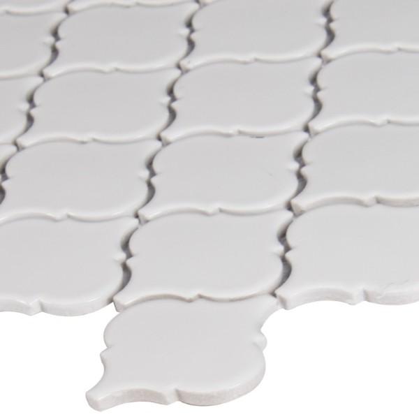 Domino White Glossy Arabesque Mosaic