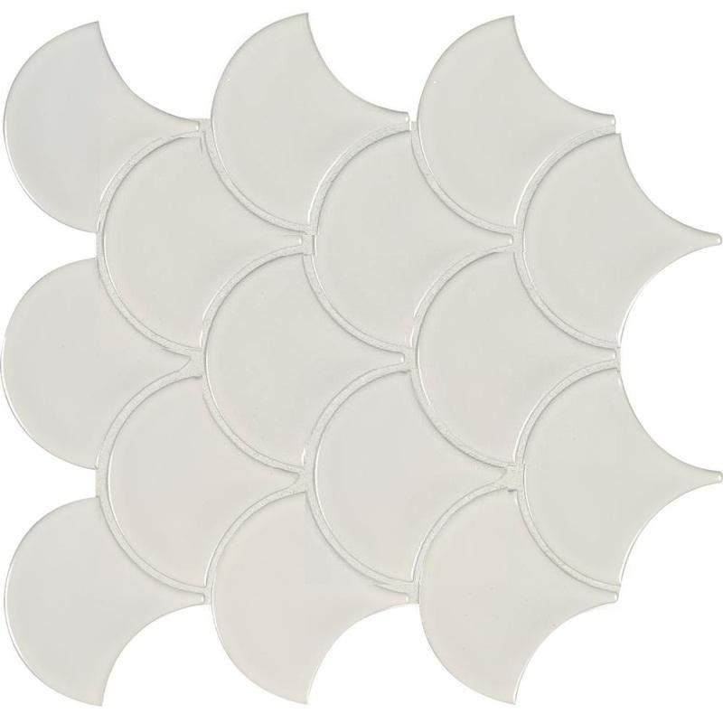 White Glossy Fish Scale Mosaic