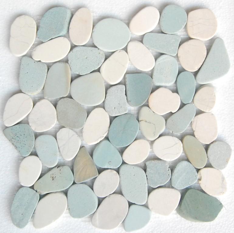 White & Green Mix Natural 12X12 Interlocking Indonesia Pebble Tile
