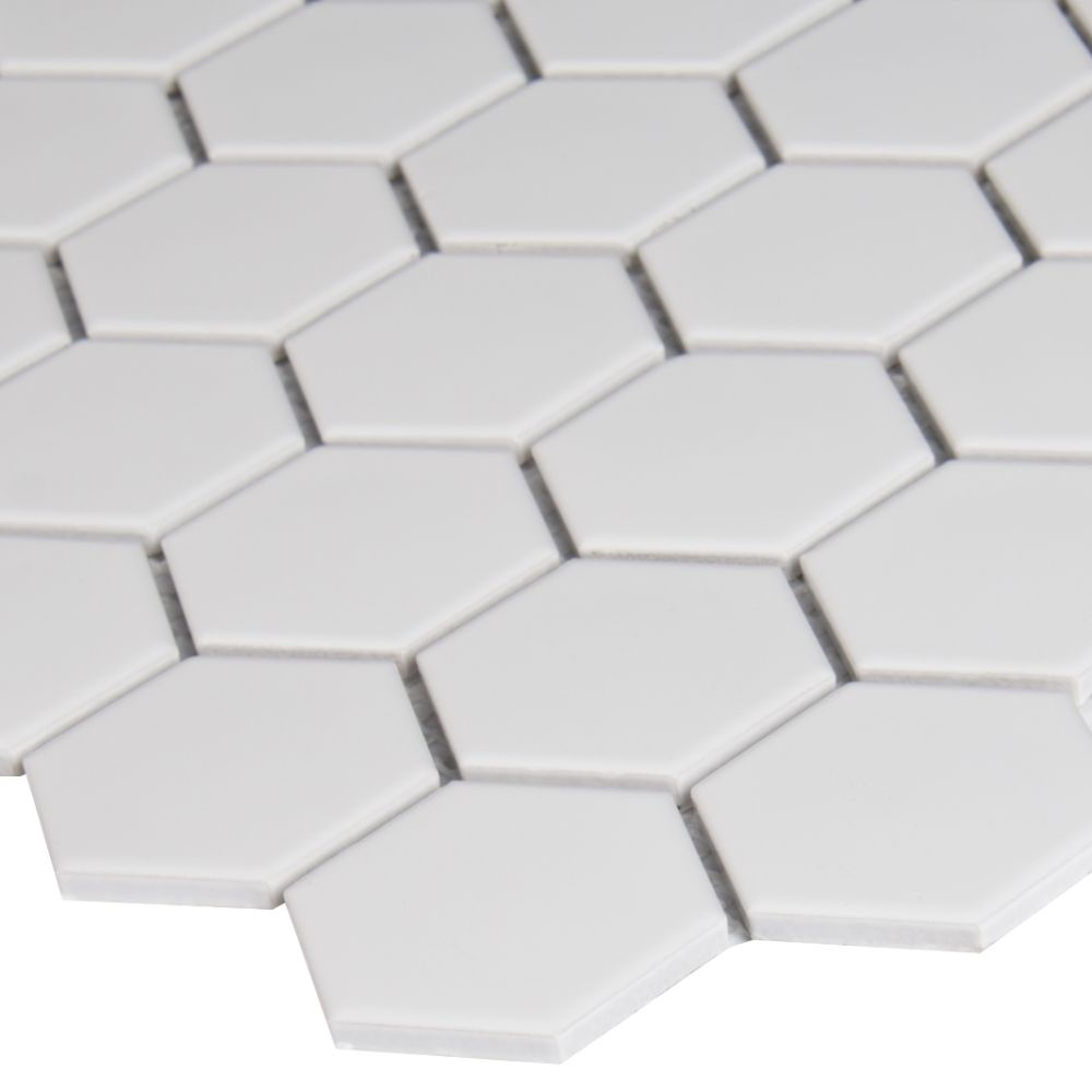 White Hudson 2X2 Hexagon Glossy Mosaic