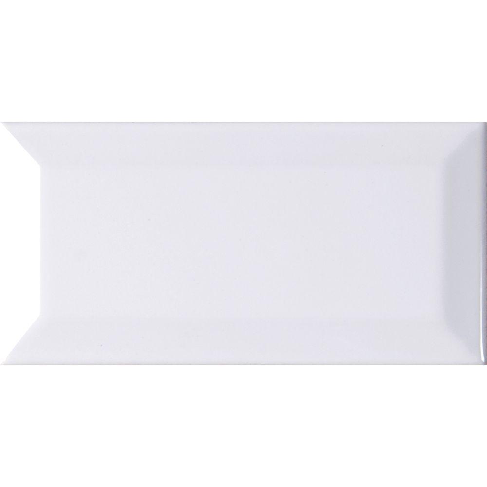 White Hudson 3X6 Glossy Bevel Subway Tile