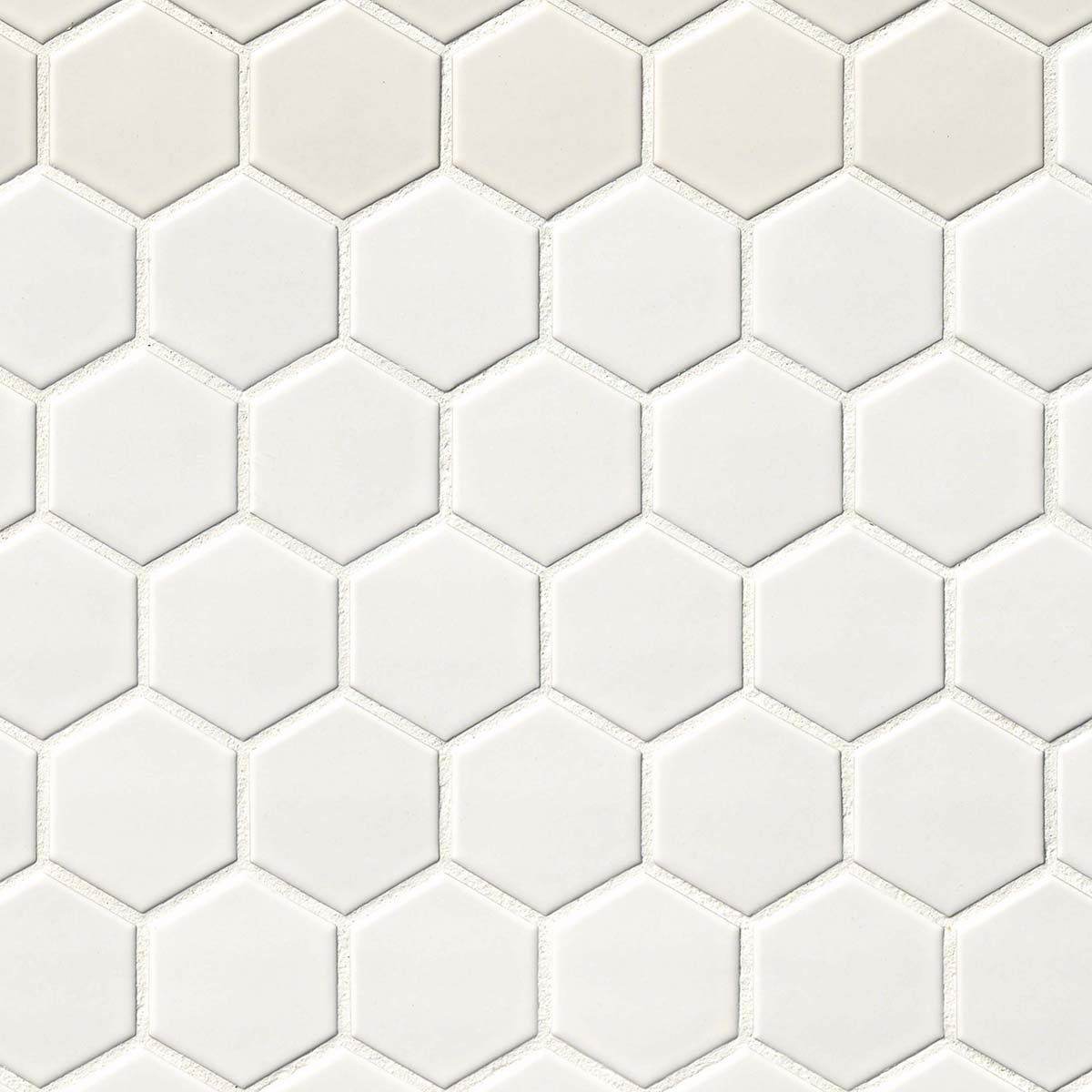 White Matte 2X2 Hexagon Mosaic