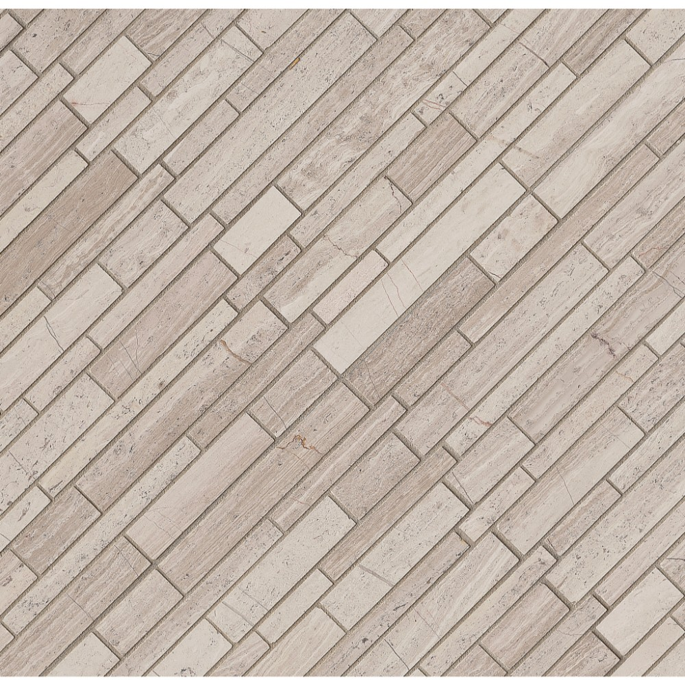 White Quarry Interlocking Pattern Honed Mosaic