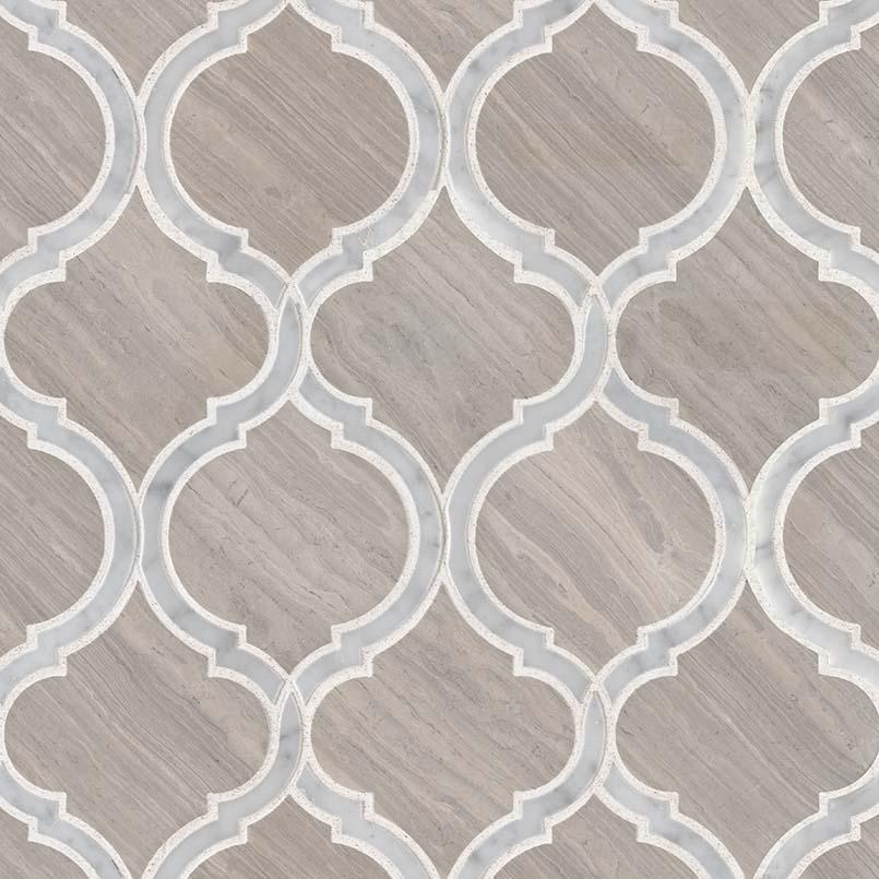 White Quarry Savona Polished Geometric Pattern Mosaic
