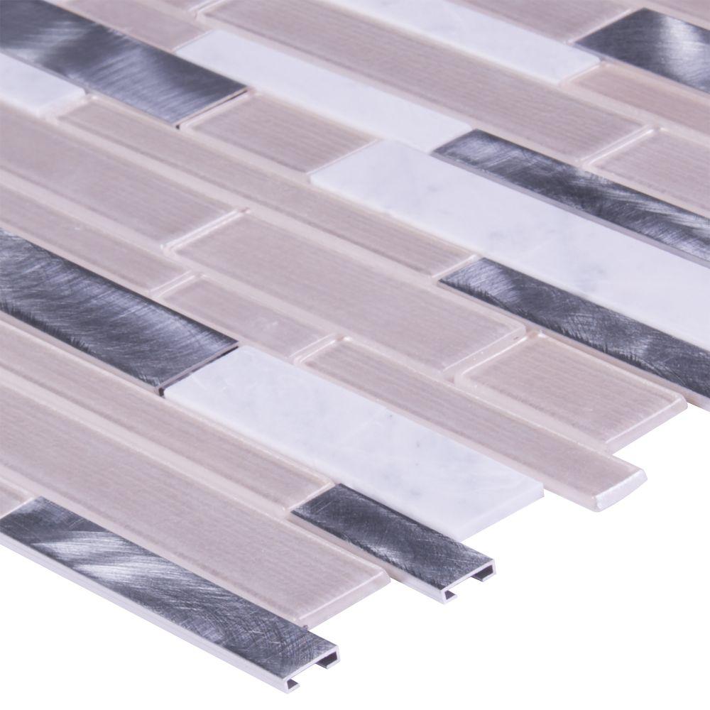 White Wave Interlocking Pattern 4mm Glass Wall Tile
