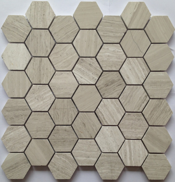 Wooden White 2x2 Honed Hexagon Mosaic