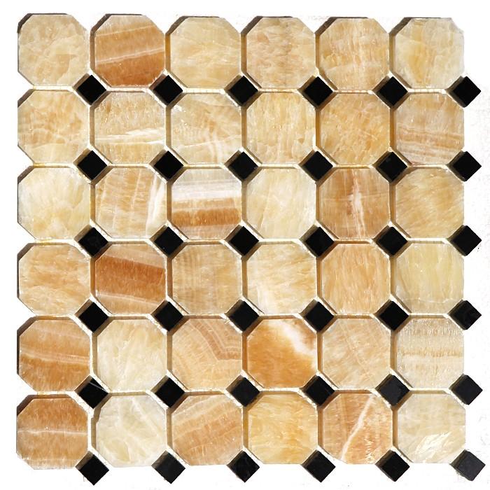 Yellow Onyx Octagon | Black Marble 12x12 Polished